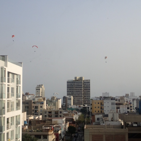 views of paragliders from our window